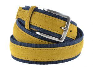 Cintura tela e camoscio gialla e blu 2016