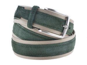 Cintura uomo tela e camoscio verde e beige