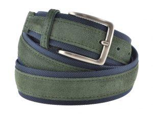 Cintura uomo tela e camoscio verde e blu