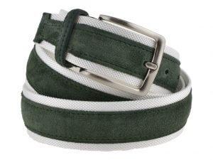 Cintura uomo tela e camoscio verde e bianca